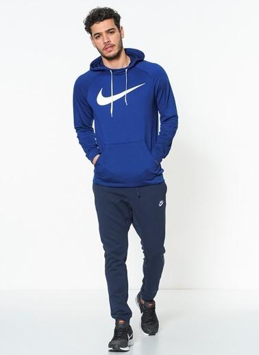 Nike Baskılı Kapüşonlu Sweatshirt Mavi
